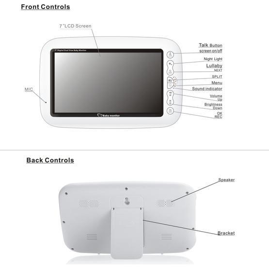 7Inch Larger Screen Display Wireless Digital Monitoring Camera Baby Career Monitor Wireless Baby Monitor SP870 - AU Plug